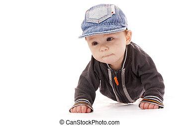 かわいい, 小さい 1 つ, 新生, 背景, 赤ん坊, 白