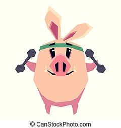 かわいい, 小豚, 行く, スポーツ