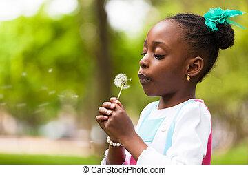 かわいい, 屋外, 人々, タンポポ, -, 若い, 吹く, 黒, 花, アフリカ, 肖像画, 女の子