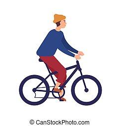 かわいい, 屋外, 自転車, 隔離された, 微笑, 偶然, 特徴, 若い, バックグラウンド。, 乗馬, 白い帽子, 身に着けていること, 平ら, bike., bmx, 漫画, 人, 男の子, beanie, illustration., 健康, activity., ベクトル, マレ, ∥あるいは∥, 衣服