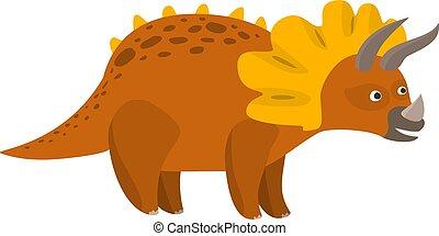かわいい, 平ら, triceratops, 恐竜, ベクトル, 漫画
