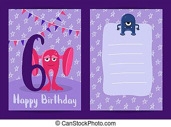 かわいい, 年齢, 6, 数, birthday, ベクトル, 花輪, モンスター, 漫画, カード, 幸せ