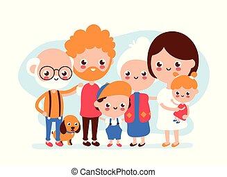 かわいい, 幸せに微笑する, 家族, 大きい