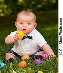 かわいい, 幼児, 男の子, 卵, 赤ん坊, イースター, 遊び