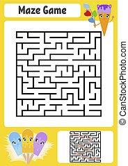 かわいい, 広場, answer., 子供, cream., 入口, 迷路, worksheets., 抽象的, conundrum., 氷, 1(人・つ), ゲーム, ベクトル, children., exit., maze., 困惑, illustration.