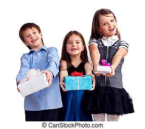 かわいい, 弾力性, 3, 隔離された, gifts., 白, 子供