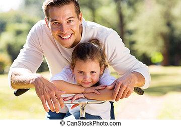 かわいい, 彼の, 娘, 父, 屋外で, 幸せ