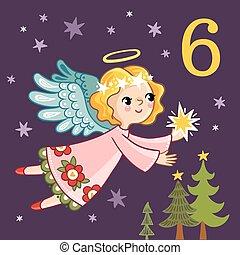 かわいい, 彼の, 星, 天使, 飛行, hands.