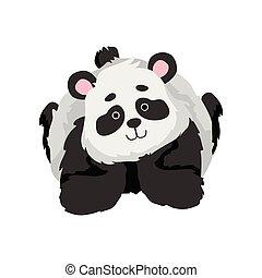 かわいい, 彼の, 胃, 面白い, 特徴, イラスト, ベクトル, 動物, 熊, 赤ん坊, 美しい, パンダ, あること