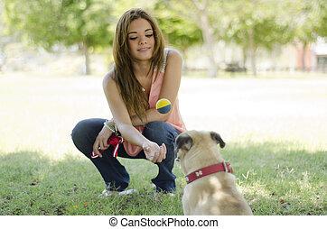 かわいい, 彼女, ペット, 犬, 女性, 恋人