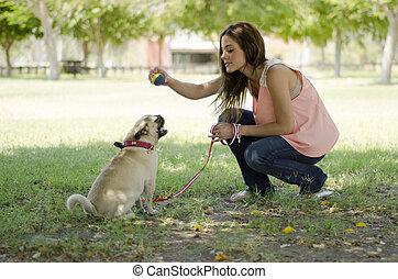 かわいい, 彼女, ペット, 犬, 所有者, 遊び