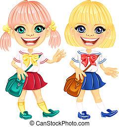 かわいい, 微笑, ベクトル, ブロンド, 女生徒