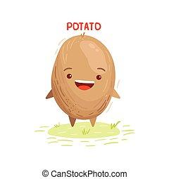 かわいい, 微笑, ポテト, 幸せ, 面白い