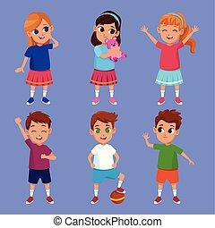 かわいい, 微笑, 子供, 漫画, 幸せ