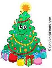 かわいい, 微笑, 木, クリスマスの ギフト