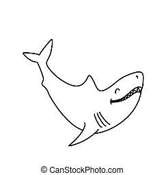 かわいい, 微笑, book:, 着色, サメ