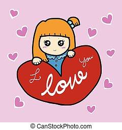 かわいい, 心, イラスト, 女の子, 漫画, 赤
