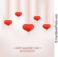 かわいい, 心, バレンタイン, 弓, バラ, 赤, 日, カード, 幸せ