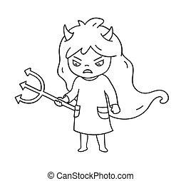 かわいい, 怒る, badge., emoji, ピン, 悪魔, ステッカー, 服, パッチ, horns., わずかしか, 漫画, 女の子, 特徴, trident