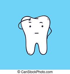 かわいい, 思いやりがある, clinic., tooth., style., 青, 考え, 特徴, 隔離された, バックグラウンド。, 楽しむこと, 愛らしい, 歯医者の, 平ら, カラフルである, シンボル, イラスト, orthodontic, 漫画, マスコット, ベクトル, ∥あるいは∥