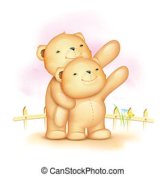 かわいい, 恋人, 熊, テディ