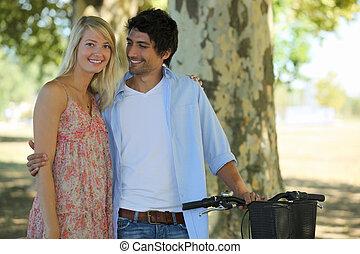 かわいい, 恋人, 自転車, 公園