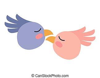 かわいい, 恋人, 頭, 鳥