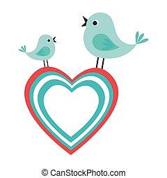かわいい, 恋人, 鳥, アイコン