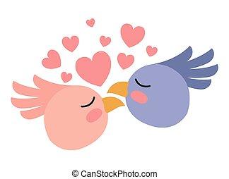 かわいい, 恋人, 鳥, 心