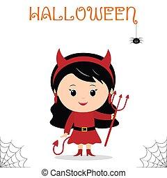かわいい, 悪魔, 祝う, 服を着せられる, trident, ハロウィーン, 隔離された, バックグラウンド。, 尾, 衣装, 子供, パーティー, 白