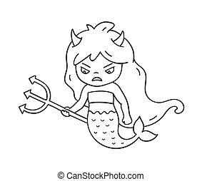 かわいい, 悪魔, emoji, ピン, 怒る, trident, 特徴, ステッカー, badge., パッチ, mermaid, 漫画, horns.