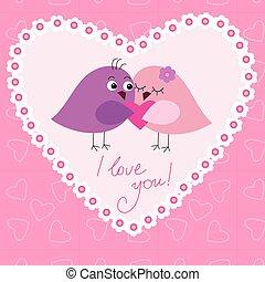 かわいい, 愛, グリーティングカード, 鳥
