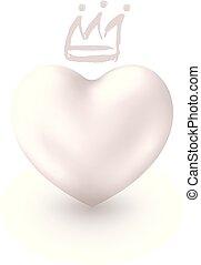 かわいい, 愛 中心, 王冠, 優雅である, デザイン, タグ, 国王, バレンタイン, 隔離された, 日, バックグラウンド。, 白, 3d, sticker., シンボル, 銀, 女王, カード, 挨拶, idea., 現実的, 光沢がある, ∥あるいは∥