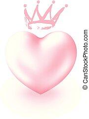 かわいい, 愛 中心, 王冠, 優雅である, デザイン, タグ, 国王, ピンク, バレンタイン, 隔離された, バックグラウンド。, 白, 3d, sticker., シンボル, 日, 女王, カード, 挨拶, idea., 現実的, 光沢がある, ∥あるいは∥