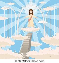 かわいい, 愛, 門, キリスト教, 上に, 雲, 腕, 開いた, 雲, スタイル, 光線, 神, ベクトル, 聖者, 隔離された, 微笑, 彼の, 天国, 乱雲, 背景, 漫画, 空, 分岐, 頭, 道