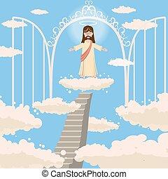 かわいい, 愛, 門, キリスト教, 上に, 雲, 腕, 開いた, 雲, スタイル, 神, ベクトル, 聖者, 隔離された, 微笑, 彼の, 天国, 乱雲, 漫画, 空, 頭, 道
