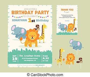 かわいい, 感謝しなさい, イラスト, 主題, birthday, 動物, 招待, パーティー, あなた, カード, テンプレート