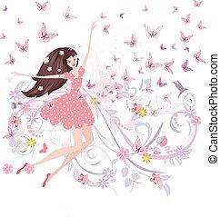 かわいい, 抽象的, 蝶, デザイン, 花, 女の子