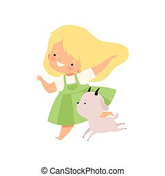 かわいい, 持つこと, イラスト, 連絡, 動くこと, ベクトル, 動物, 楽しみ, 女の子, 漫画, goatling, 子供