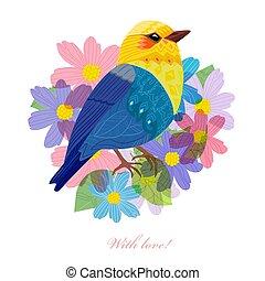 かわいい, 挨拶, あなたの, デザイン, 花, 鳥, カード