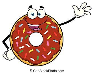 かわいい, 振りかける, 特徴, チョコレート, 振ること, ドーナツ, 漫画, マスコット