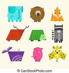 かわいい, 教育, セット, 動物, 幾何学的, 子供