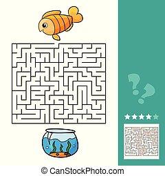 かわいい, 教育, 迷路, game., fish, イラスト, ベクトル, 迷路, 子供