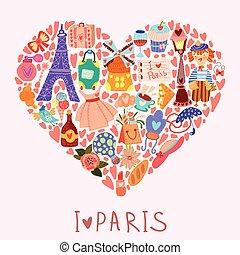 かわいい, 明るい, 要素, 愛, card-i, 多数, 挨拶, paris., 色, ベクトル, デザイン, 流行, 要素