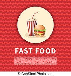 かわいい, 映像, poster., 有色人種, elements., カップ, メニュー, イラスト, 食品。, バーガー, ベクトル, デザイン, 速い, ソーダ, 漫画