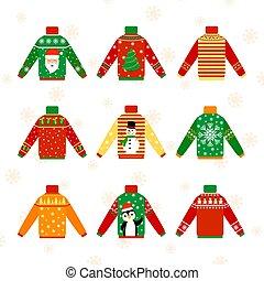 かわいい, 暖かい, クリスマス, セーター, ∥ために∥, 冬, セット