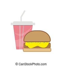 かわいい, 有色人種, elements., カップ, 食物, メニュー, -, イラスト, ペーパー, バーガー, ベクトル, デザイン, 速い, ソーダ, picture., 漫画