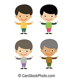 かわいい, 朗らかである, 人間, 肖像画, 偶然, わずかしか, 特徴, 若い, ティーネージャー, 幸せ, 平ら, 生活, 喜び, 漫画, 子供, 男の子, illustration., happyness, ベクトル, 楽しみ, 表現, 幼年時代
