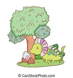 かわいい, 木の景色, 恐竜
