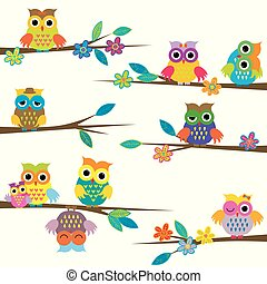 かわいい, 木, 漫画, ブランチ, フクロウ